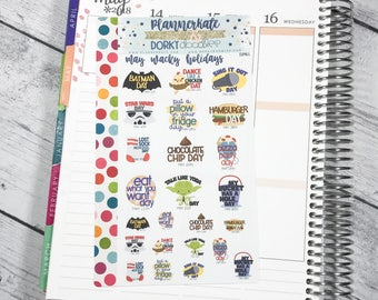 DP61 || MAY WACKY HOLIDAYS Planner Stickers - PlannerKate & DorkyDoodles (Removable Matte Stickers)