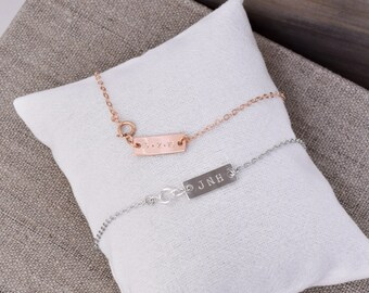 Personalized Bar Tag ADD-ON / Customize Your A-List Jewelry / Custom Bar Necklace, Bracelet / Silver, Gold, Rose Gold