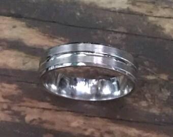 14k White Gold Layer On Sterling Silver Wedding Matt Design ring Band 5mm S7