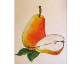 Pear Pastel Painting - Pear Art - Pear Drawing - Kitchen Art - Kitchen Decor - Pear Decor - Fall Art - Fall Decor