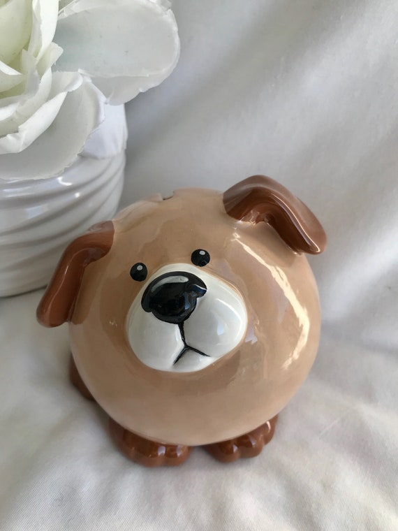 Puppy piggy bank ceramic dog piggybank personalized baby gift like this item negle Images