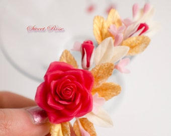 Barrette with roses and gold leaves Cold porcelain flowers Wedding accessories Bride hairstyle Red wedding Gold jewelry Clay flowers