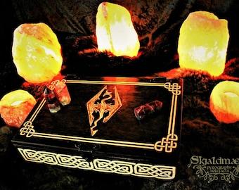 "Skyrim ""The Elder Scrolls"" Dovahkiin Dragonborn Wood Pyrography box"