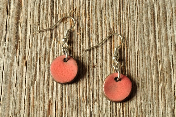 SMALL glossy coral round stoneware drop earrings