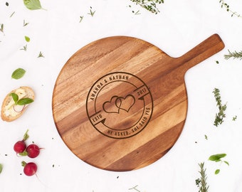 Personalised He Asked She Said Yes Cheeseboard - Engraved Engagement Wedding Gift