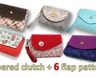 PDF pattern- zippered clutch- You will get  ALL 6 flap patterns shown. Over 80 pics.