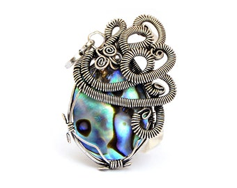 Abalone Pendant, Wire Wrap Pendant, Silver Pendant, Paua Shell Pendant, Abalone Necklace, Paua Shell Necklace, Gift for Her