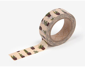 Succulent printed Korean washi tape  for scrapbooking, decorations (15mm x 10m)