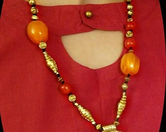 handmade beaded jewelry, handmade necklace, fashion necklace, handcrafted piece, brass pendant, stone necklace, jewelry
