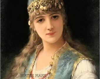 Gypsy girl*Gorgeous long light hair*BoHo*Bohemian*Sew*Quilt art fabric block*Quilts,Pillows,Sachets,Frame