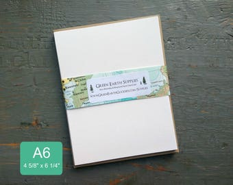 "100 A6 FLAT Cards & Envelopes, 100% Recycled Blank Invitations/Post Cards with Envelopes, 4 5/8 x 6 1/4"", 80-100lb, White or Natural White"
