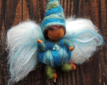 Fairy Boy Bendy Needle felted wool soft sculpture Elf -Waldorf Inspired by Rebecca Varon