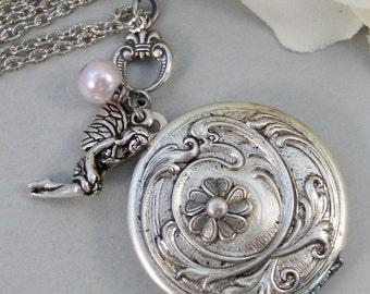 Pink Tink,Locket,Fairy,Fairy Locket,Antique Locket,Tinkerbell,Silver Locket,Flower,Pink Locket, Locket,Handmade jewelry by valleygirldesigns