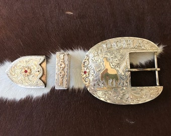 Pacific Coast Horse Show Association Sterling and 10k Trail Reserve Champion Trophy Buckle, Ranger Set, PCHA