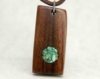 Rosewood and Turquoise (Sleeping Beauty) Pendant Necklace
