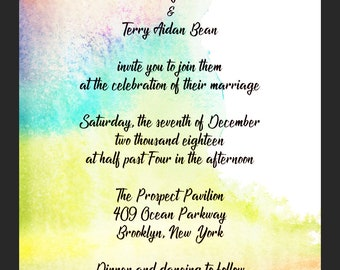 Rainbow Watercolor - Wedding Invitation Template- CUSTOMIZABLE