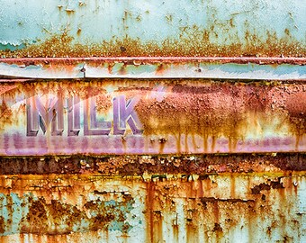 Milk Truck Print, Antique Vehicle Photography, Dairy, Auto Art, Milk Delivery Truck, Rustic Kitchen Decor, Rust, Brown, Teal - Milk