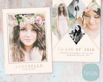 Senior Announcement Card - Rose Gold On Trend - Photoshop Template - AG015 - Instant Download