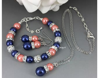 Coral and Navy Jewelry Set Navy Blue Necklace Coral Necklace Coral Bracelet Bridesmaid Gift on a Budget Navy Bracelet Maid of Honor Gift