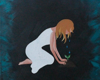 """Matted 5x7 Acrylic Print Painting: """"Tears"""""""