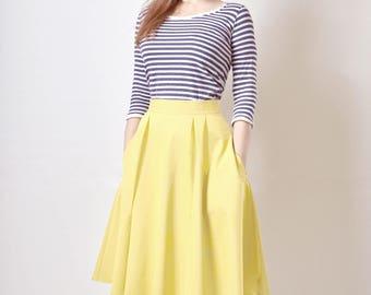 Cotton Sateen flared skirt, Midi skirt, Yellow Skirt with Pockets