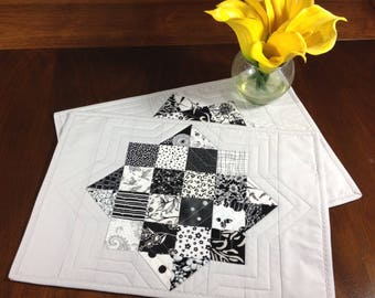 Black White and Grey Placemats, Pair of Quilted Placemats, Placemats for Modern Decor, Gray Place Mats, Contemporary Dining Room Decor