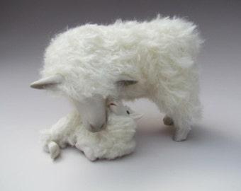 Handcrafted Ewe and Lamb Figures, English Cotswold Cheek to Cheek With lying Lamb