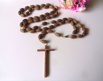 Large French Rosary , Wood cross , Wood bead rosary
