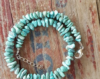 Turquoise and Sterling Silver Anklet, Chunky Turquoise Nugget and Sterling Silver Ankle Bracelet, Turquoise Beaded Anklet, Turquoise Anklet