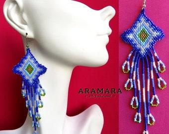 Native Jewelry, Native american earrings, Mexican folk art, Mexican earrings, Huichol Earrings, Boho earrings, Mexican Jewelry, AO-0104