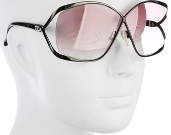 80s CHRISTIAN DIOR Oversized Luxe / Glam Butterfly Vintage Black Metal w/ Pink Tinted Lens Designer Sunglasses - SO Rare!
