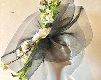 Large Derby hats- Fascinators- Black Fascinator Hat - Big Brim - Flower Garden Fascinator- Mad Hatter- Derby Days- Tea Party Hat-
