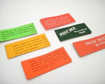 Increasingly Stern Overdue Account stickers - Vintage Ephemera - Office Supplies