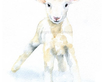 White Baby Lamb Watercolor Painting - Large Print