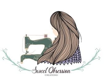 sewing machine logo Hand Drawn sewing logo sewing blog logo handmade fashion logo craft logo craft blog logo girl logo business logo design