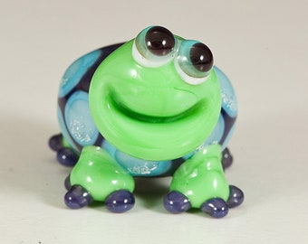 Purple Blue Sparkle Turtle Lampwork Bead