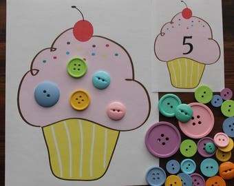 Cupcake Counting, Numbers, Busy Bag, Preschool, Toddler, Quiet Activity, Counting Game, Number Game, Table Top Activity Game