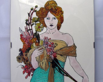 Ooak Quadro Spring by Alphonse Mucha, hand-painted glass, single piece, Women style liberty Art Nuveau, bouquet of flowers, made Italy