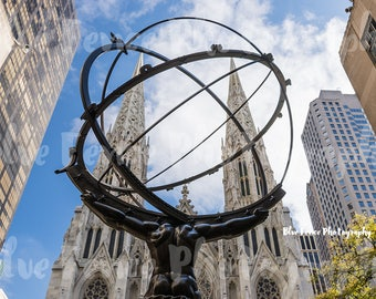Atlas Statue & St Patricks Cathedral, Rockefeller Center, Rock Center, Art Print, Wall Decor, Black and White, New York City Photograph