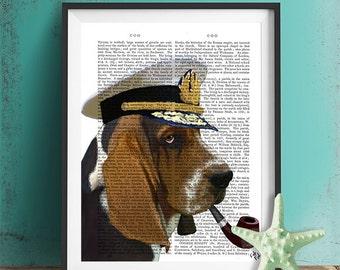 Basset Hound Sea Dog Print - Basset Hound Print Basset Hound art sailor hat sailor dog nautical print captains hat navy wife gift bloodhound