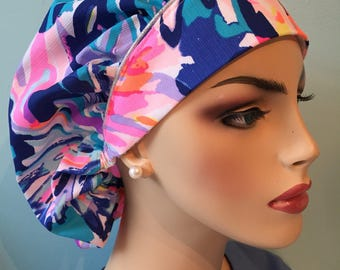 Lilly Pulitzer /' Multi Off Tropic'/ 'European Surgical cap / surgical  scrub cap  / Bouffant hat / Bouffant Ponytail hat / scru