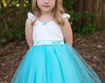 aqua dress, flower girl dress, aqua flower girl, vintage flower girl dress, Victorian dress, tutu dress, flower girl dress tutu SALE