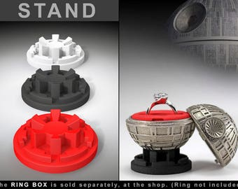 STAND for Death Star Ring Box - proposal ring box, engagement ring box, star wars, ring case, wedding, marriage, matrimony, bridal, geek box