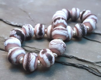 Lampwork Glass Bead Stretch Bracelet - Cream and Purple, Handmade with Silver tone or Sterling Silver accent beads