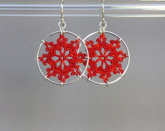 Nautical doily earrings, red hand-dyed silk thread, sterling silver
