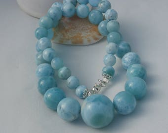 Larimar Round Beads Necklaes In Sterling Silver 925