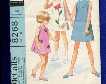1960's McCalls 8268 Mod Girl's Sun Dresses Pattern Size 8