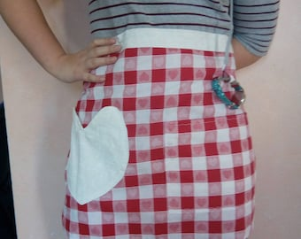 Reversible half apron,  ages 11-adult, ready to ship, flat-front caterer's apron, Valentine's, hearts