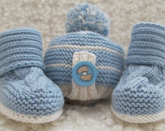 Hand Knitted Baby Boy Hat & Booties Set