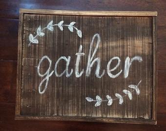 Framed gather sign